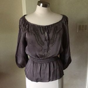 Bebe Taupe Silk Blouse